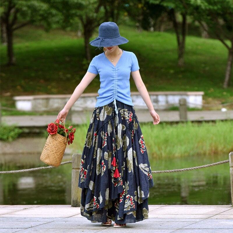 Plus S Imprimer Maxi Et Style Linge Bleu Coton Automne ligne Femmes A Chinois Livraison Long La Taille Gratuite Fleur 2xl Jupes Élastique anf6S