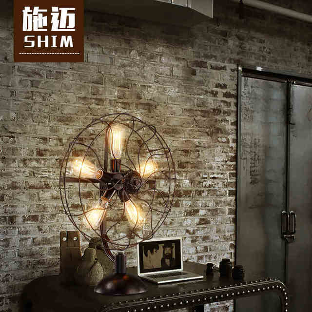 Loft retro Desk Lamps of creative industries in the American village Tieyi bedroom lamp fan