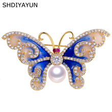 SHDIYAYUN 2019 Pearl Brooch For Women Vintage Enamel Butterfly Brooches Pins Natural Freshwater Fine Jewelry Accessories