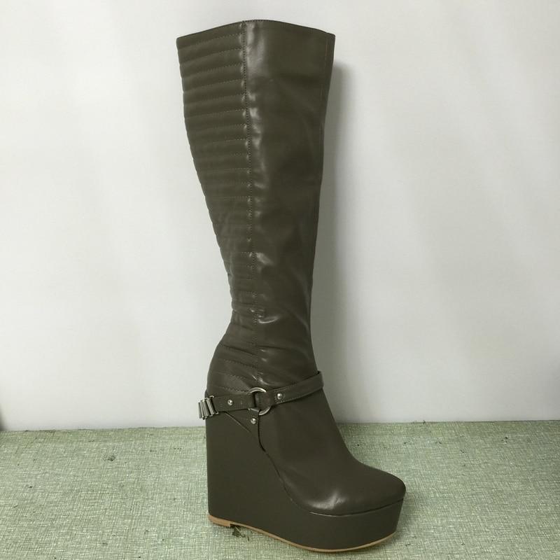 25e3c30cf2de9 رمادي إسفين أحذية عالية الكعب النساء الركبة عالية جولة تو مع الصين لنا حجم  12 السيدات إسفين أحذية طويلة الشتاء النساء التمهيد أحذية