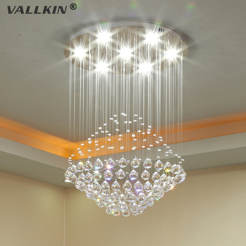 VALLKIN Modern LED Crystal Chandeliers Lighting Fixture Ceiling Pendant Lamps Chandelier Indoor Deco Hanging Lamp for Home explosion of 2016 summer book kinds of men s denim shorts elastic hole loose straight slim pants breathable male five