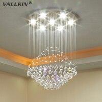VALLKIN Modern LED Crystal Chandeliers Lighting Fixture Ceiling Pendant Lamps Chandelier Indoor Deco Hanging Lamp For
