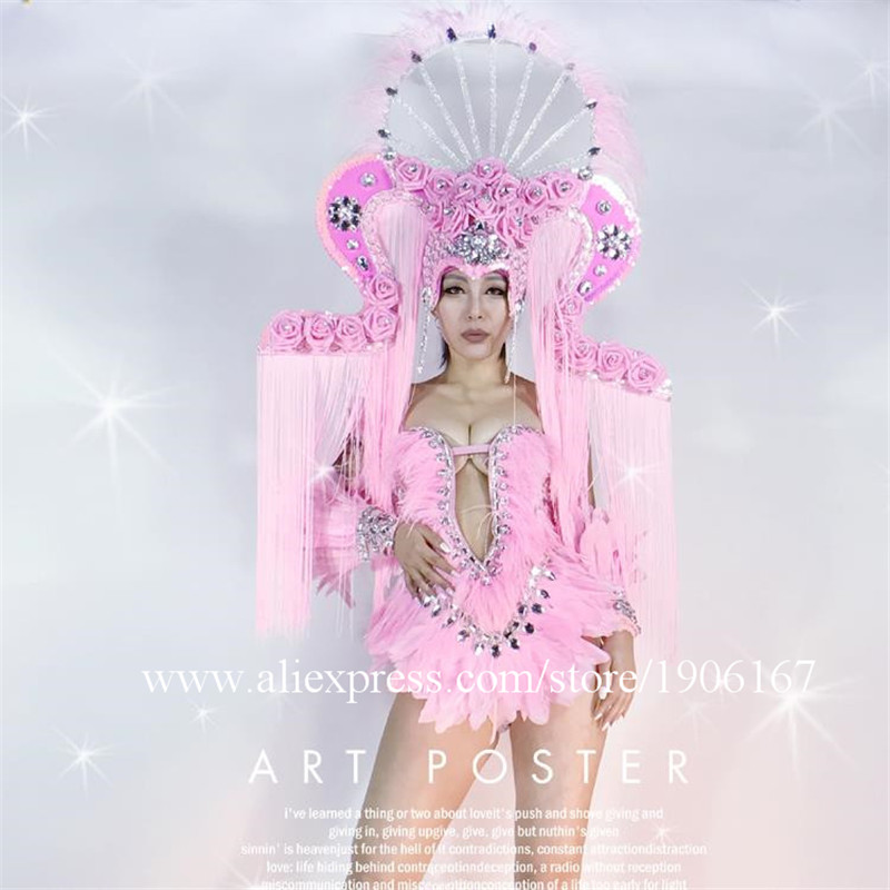 Pink Color News Fashion Sexy Girl Costumes Clothes Coverall Headwear Performance Stage DJ Dancer Shows Ballrooom Free Shipping