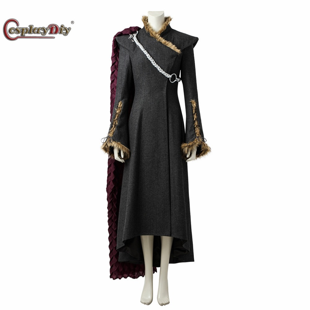 Game of Thrones Season 7 Cosplay Daenerys Targaryen Coat Dress Mother of Dragons Costume For Adult Women Halloween With Red Cape