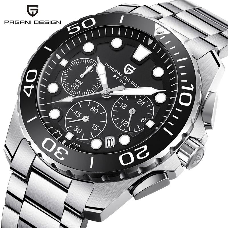Men's Watch PAGANI DESIGN Luxury Brand Men's Waterproof Stainless Steel Quartz Chronograph Date Business Watch relogio masculino-in Quartz Watches from Watches    1