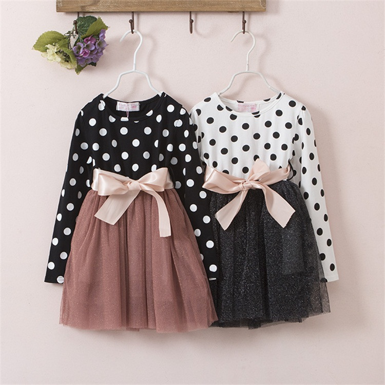 ebaabd2cd5ee1 2018 New Winter Dress For Girl Long Sleeve Bow Knot Princess Girls Dresses  Polka Dot Print Kids Clothes Casual Baby Clothing-in Dresses from Mother &  Kids ...