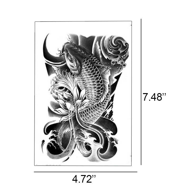 2018 Venta caliente Tatuajes temporales carpa koi peces brazo tatoo