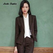 1pcs Womens Plus size Blazers coats 2019 Autumn cotton blend Single button Suits jackets ladies Skinny office coat