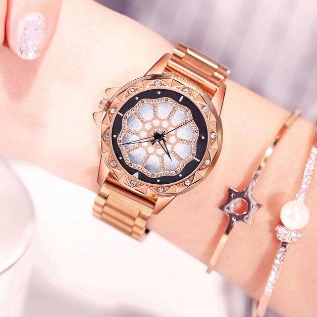 נשים צבעוני נירוסטה מזל פרח שעון יוקרה גבירותיי קוורץ שעון Vansvar שעון עבור Dropshipping