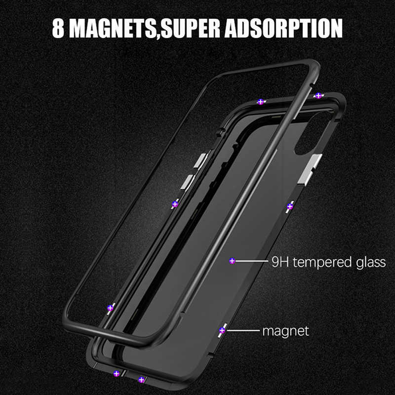 Kim loại Từ Điện Thoại dành cho IPhone X XS Max XR Kính Cường Lực Tích Hợp Nam Châm Kính Cường Lực Mặt Sau cho iPhone 7 8 6 6 S 6 S Plus Trường Hợp