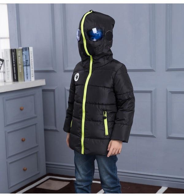2016 invierno abajo del niño día frío prendas de vestir exteriores de la chaqueta niños abrigos niños parkas con capucha adolescente hero traje ropa
