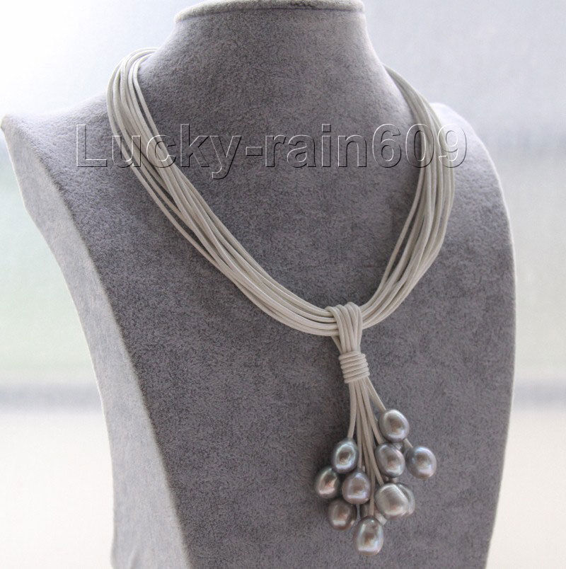 10x10 jewerly freeshipping Choker 16 15row 12mm gray pearls white leather Pendant necklace