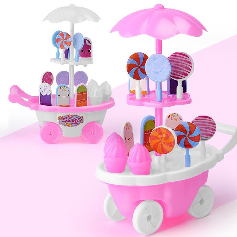 GroßZüGig Neue Simulation Mini Eis Auto Lustige Kunststoff Eis-creme Kinderwagen Pädagogisches Küche Spielzeug Pretend Spielen Spielzeug Farbe Zufällig S