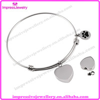 IJB0382 316L Stainless Steel Plain Heart Urn Charm Cremation Jewelry Bracelet Expandable Wire Bangle