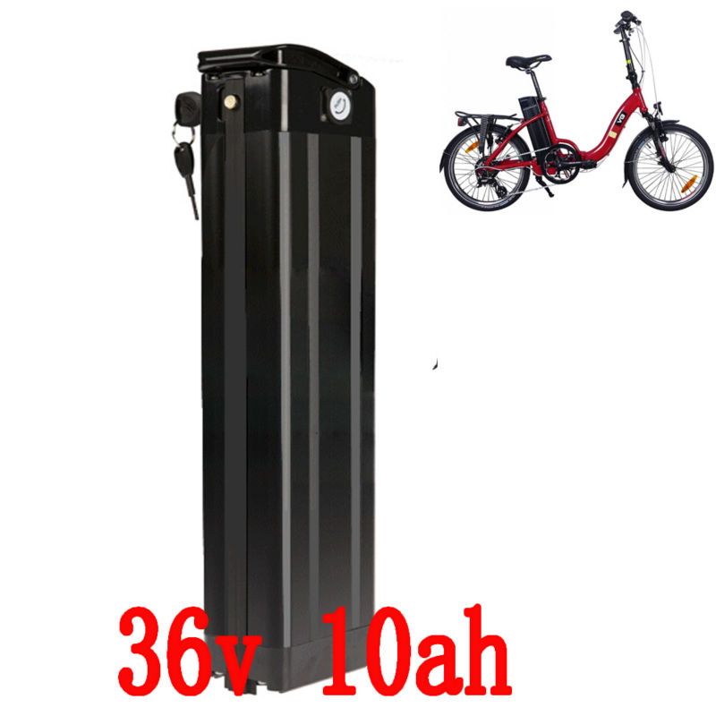 US EU No Tax 36V 10Ah Electric Bicycle battery use Silver Fish AL case 36V 500W Electric Bike lithium battery with 2A Charger free customs tax 36v 500w ebike lithium battery 36v 15ah electric bike down tube bottle battery with charger for samsung cell