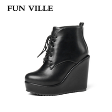 FUN VILLE 2018 New Autumn Winter high heel wedges Ankle Boots ladies bare boots booties Height increasing Martin Female