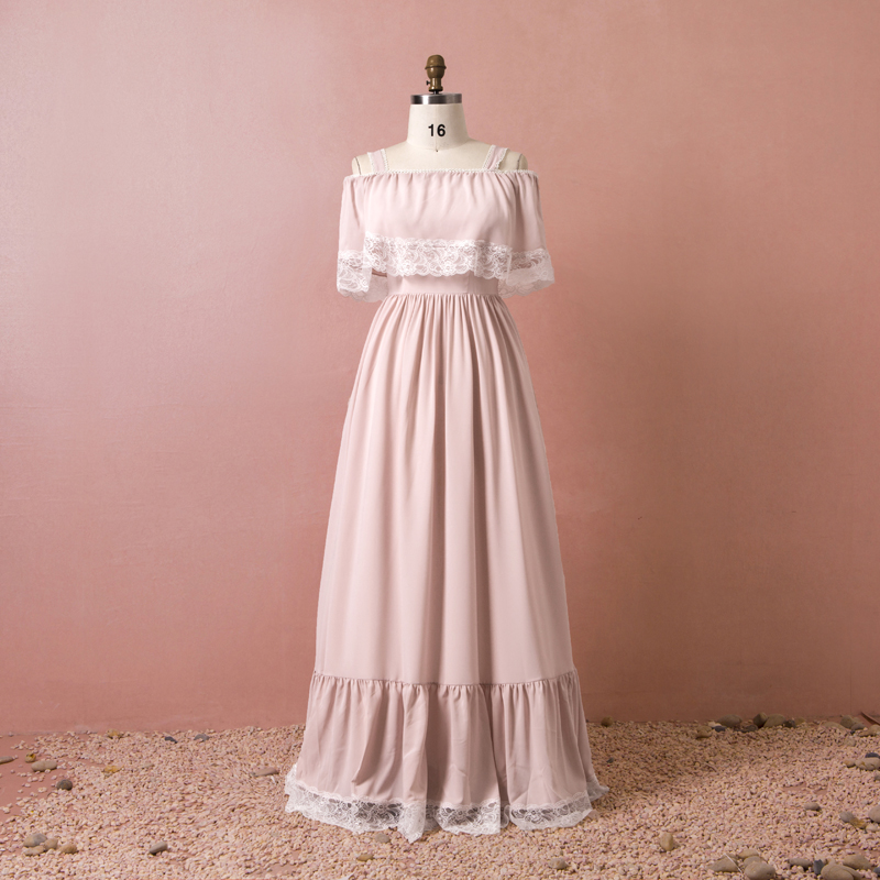 Plus Size Sweet Pink Off The Shoulder Lace Vestidos De Festa Chiffon Pleats Long   Bridesmaid     Dresses   Vintage Prom Party Gowns