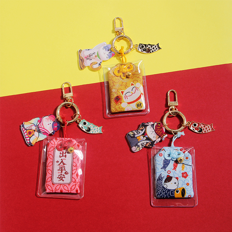 Japanese Style Lucky Cat Amulet Key Chain Bless With Safeness Keychain Cute Omamori Pendant Lucky Charm Keyring Drop Shipping