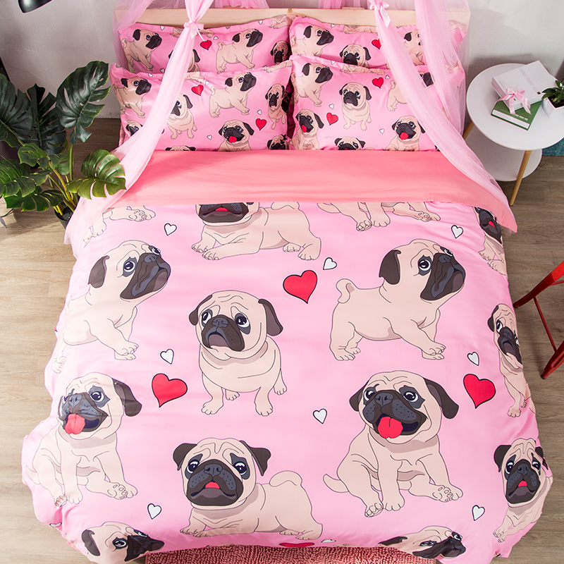 Hippie Pug Bedding Set Queen King Size Animal Cartoon Bed