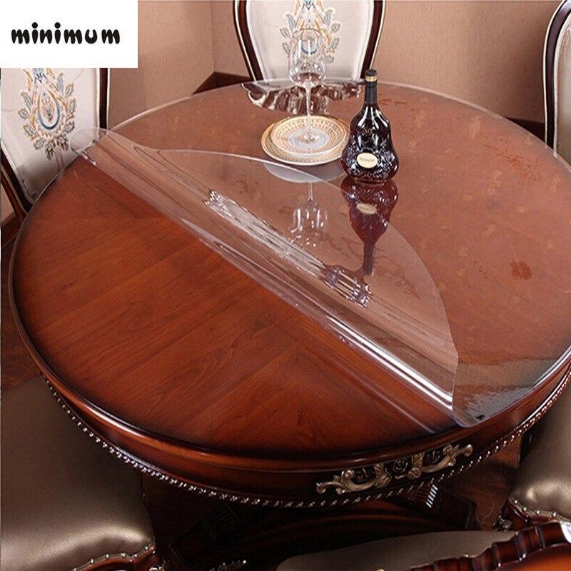 Table ronde Doux verre Transparent table tissu imperméable résistant à l'huile Ronde hôtel PVC nappe en plastique Café tapis Cristal plaque