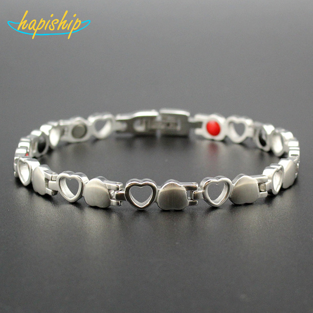 Healthy Care Magnetic Bracelets Bangles Silver-color Heart Stainless Steel Women Female Fashion Jewelry S020