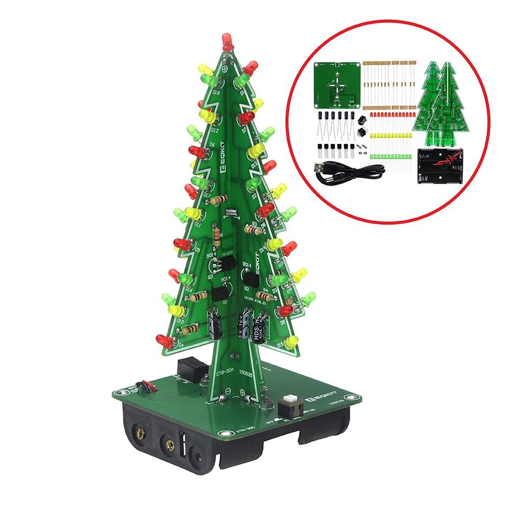 Бесплатная доставка трехмерная 3D Рождество Дерево LED DIY Kit красный/зеленый/желтый светодиод вспышки цепи комплект электронный Fun Suite