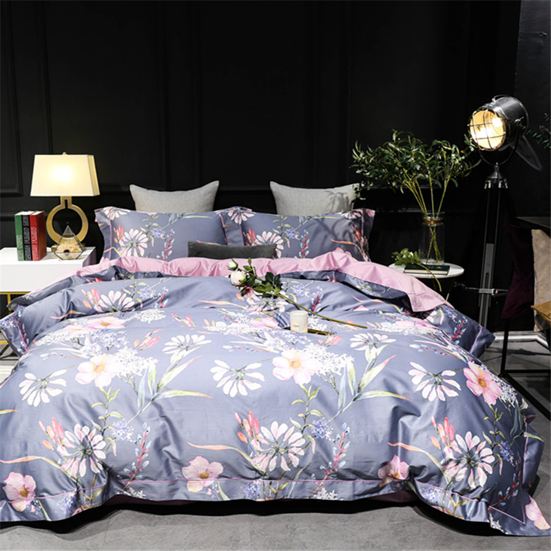 HS 100S 4pcs Bedding Sets Reactive Printing Pure Cotton Skin Comfort Kit King Queen Size Bed Sheet Pillowcases Quilt Cover Sets