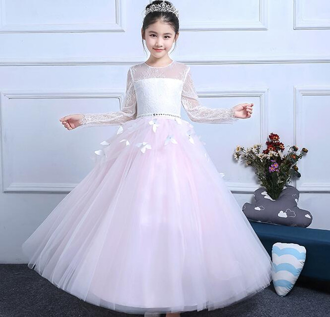 цены Actual Image Holy Communion Dresses Long Sleeves Lace Back Button Solid O-neck Flower Girl Dresses Vestido De Daminha