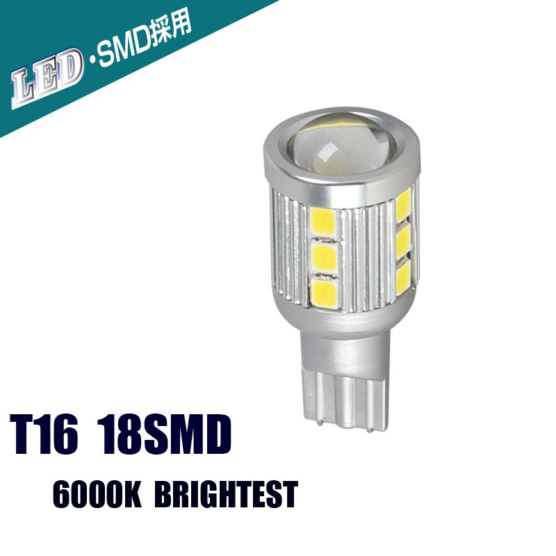 T16 18SMD LED Reverse Lights Back Lights Automobiles External Lights Super Bright White Bulbs 6000K DC 10V 36V