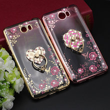 Luxury TPU Soft Ring Holder Back Cover for Huawei Honor 5A Y5 ii Silicon Diamond Crystal Glitter Phone Case LYO-L21 5.0 inch