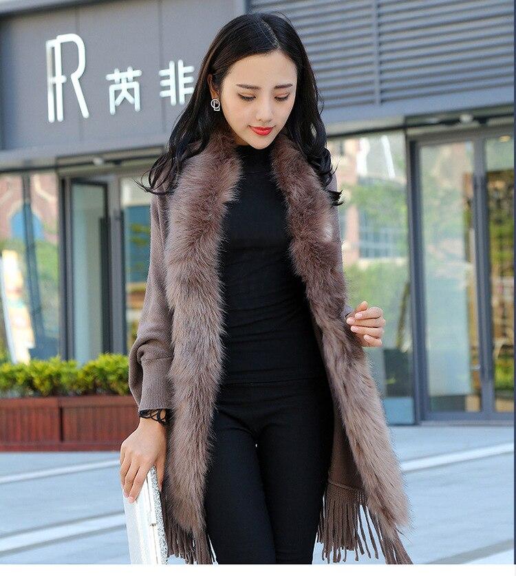 Faux Fur Collar Shawl Cardigan Tassel Winter Warm Coat 20
