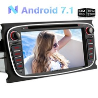 Wholesale!2 Din 7'' Android 7.1 Car DVD Player For Ford Mondeo/Focus GPS Navigation Bluetooth Car Stereo FM Rds Radio Headunit