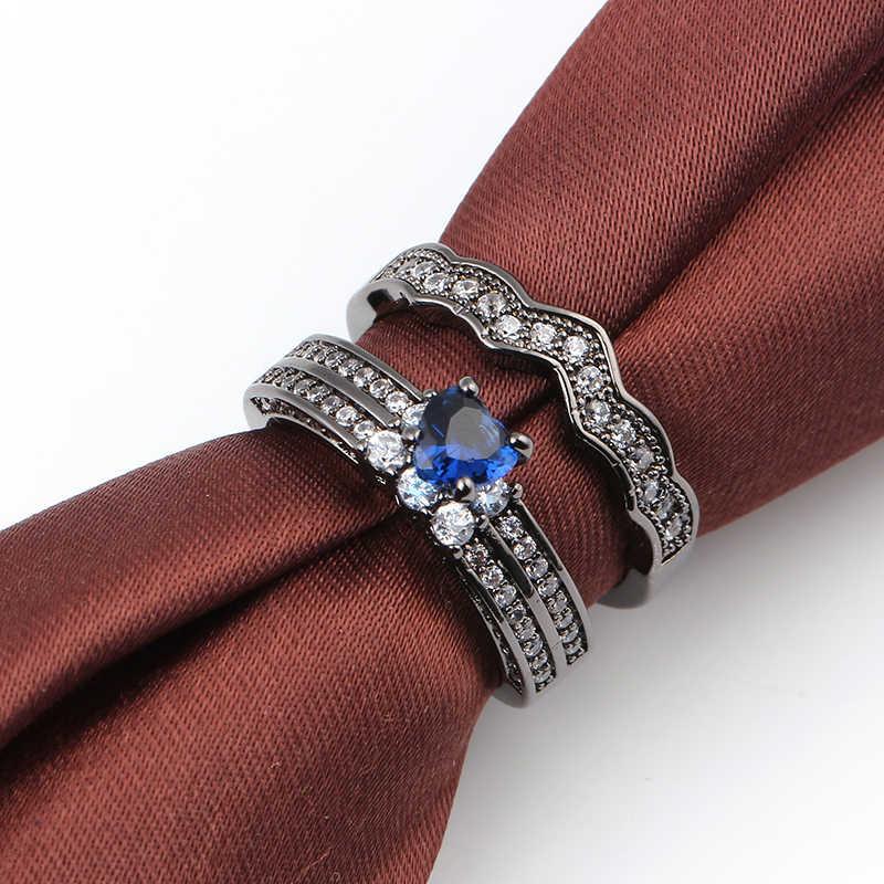 2 Pcs ชุดแหวนหัวใจสีขาว Zircon แหวนหินสำหรับผู้หญิงผู้ชายสีดำ Gold Filled เครื่องประดับงานแต่งงานสัญญาแหวนเครื่องประดับ