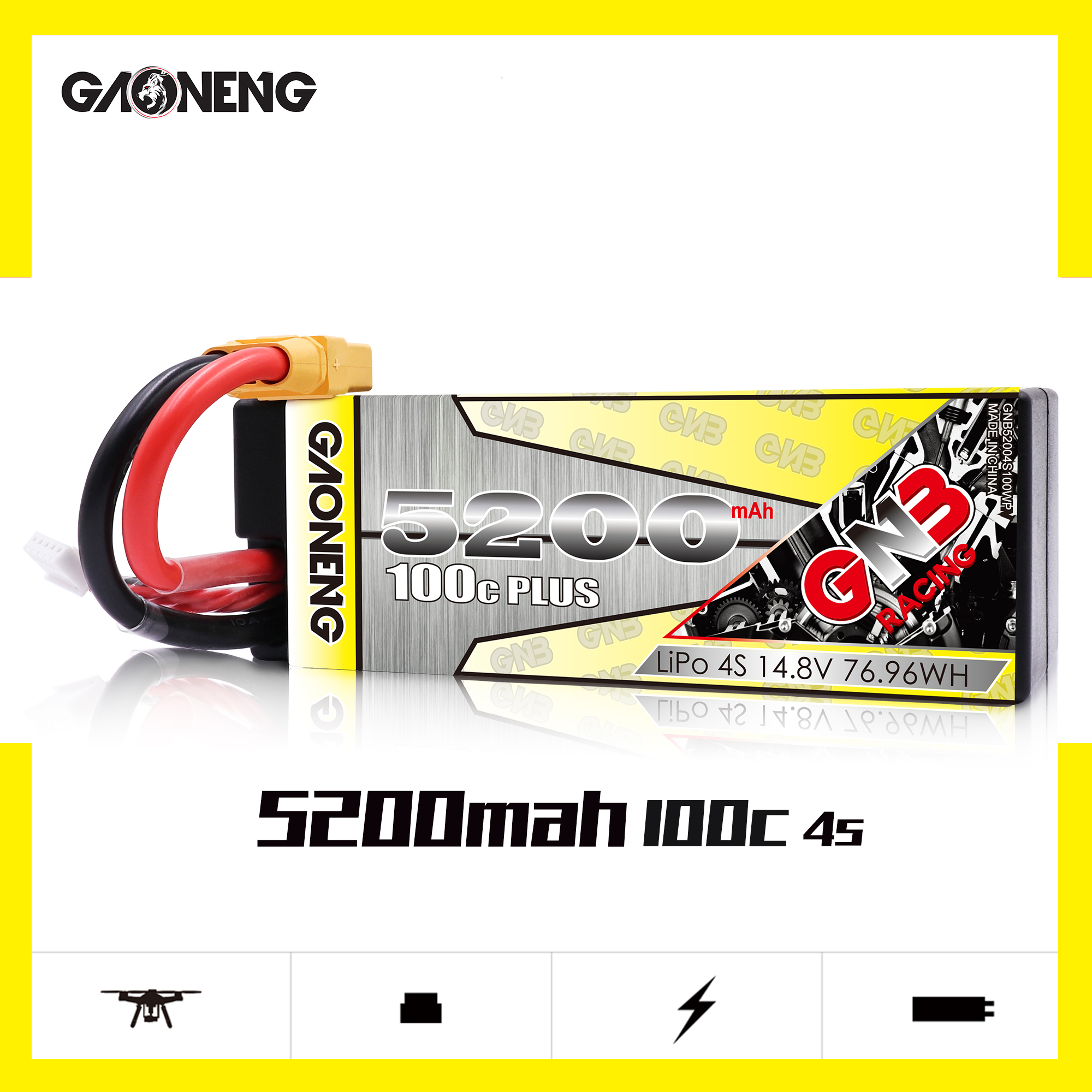 Gaoneng GNB <font><b>4S</b></font> 14.8V <font><b>5200mAh</b></font> 100C XT60 T Plug <font><b>Lipo</b></font> Battery for RC HPI HSP Traxxas 1/8 1/10 Buggy RC Car Truck image