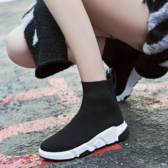 Sooneeya 2018 New Stretch Sock Shoes Woman Flats Fashion Bling Women Casual Shoes Elastic Sneakers Shoes Outdoor Female Loafers