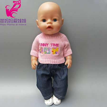 Doll sweater and jeans cloth set for 18 inch 45cm American Girl doll clothes fit for 43CM zapf baby born doll outfit rose christmas gift 18 inch american girl doll swim clothes dress also fit for 43cm baby born zapf dolls