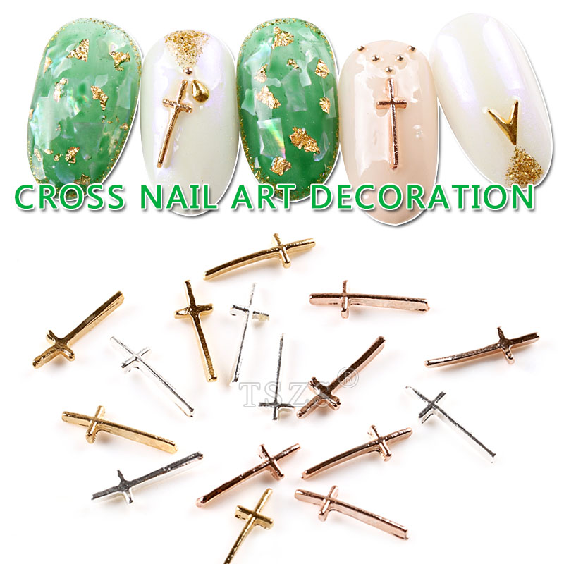 25pcs/lot Nail Tips Glitter Gold Silver Rose Gold Long Cross