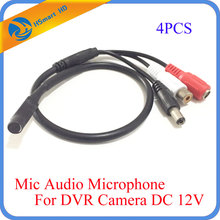 4Pcs High Sensitive Audio Pick Up CCTV Microphone Wide Range Camera Mic Audio Mini Microphone With DC 12V for CCTV Security DVR