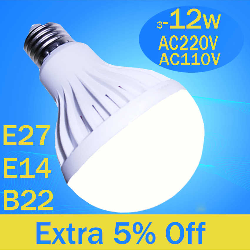 led 5730 bulb 220V 110V E27 E14 B22 3W 5W 7W 9W 12W 2835 SMD White / Warm White lampara led e27 bombilla maiz led spotlight bulb
