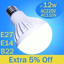 led 5730 bulb 220V 110V E27 E14 B22 3W 5W 7W 9W 12W 2835 SMD White / Warm White lampara led e27 bombilla maiz led spotlight bulb e27 7w 600lm 6500k 38 smd 2835 led white light bulb white silvery grey 175 265v