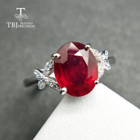 TBJ,Popular Genuine simple Ring with Ruby in 925 sterling silver gemstone jewelr for women & girls as a wedding valentines gift