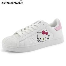 Autumn Women Teens Fashion Casual Doraemon Hello Kitty Kitten Cartoon Korean Lacing Female Students Flats Boards Shoes ZJ123