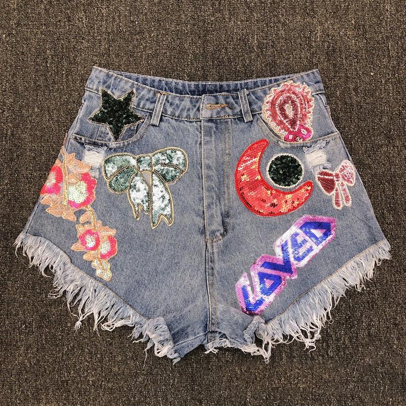 women colorful sequined fringe denim shorts ladies green red moon purple star bead floral bow bee