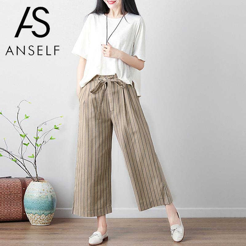 Women Cotton Linen   Pants   Striped Cropped   Pants     Wide     Leg     Pants   Elastic Waist Strap Pockets Casual Loose Trousers Large Sizes XXXL