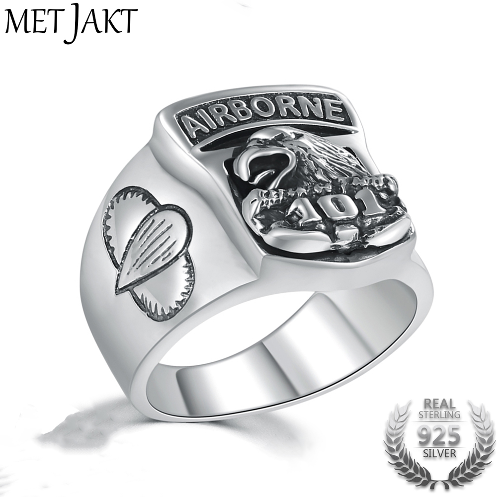 MetJakt US Army 101 Eagle Airborne Division Pattern Solid 925 Sterling Silver Ring for Cool Men