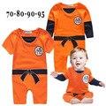 Roupa goku romper do bebê menino de algodão de manga curta e longa sólida orange macacão infantil roupas halloween traje para a criança