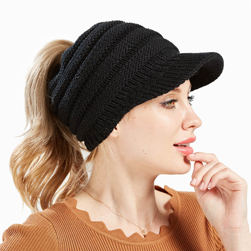 New women's knitted baseball caps without car standard opening ponytail hats men and women hat ski sports cap   Skullies   &   Beanies