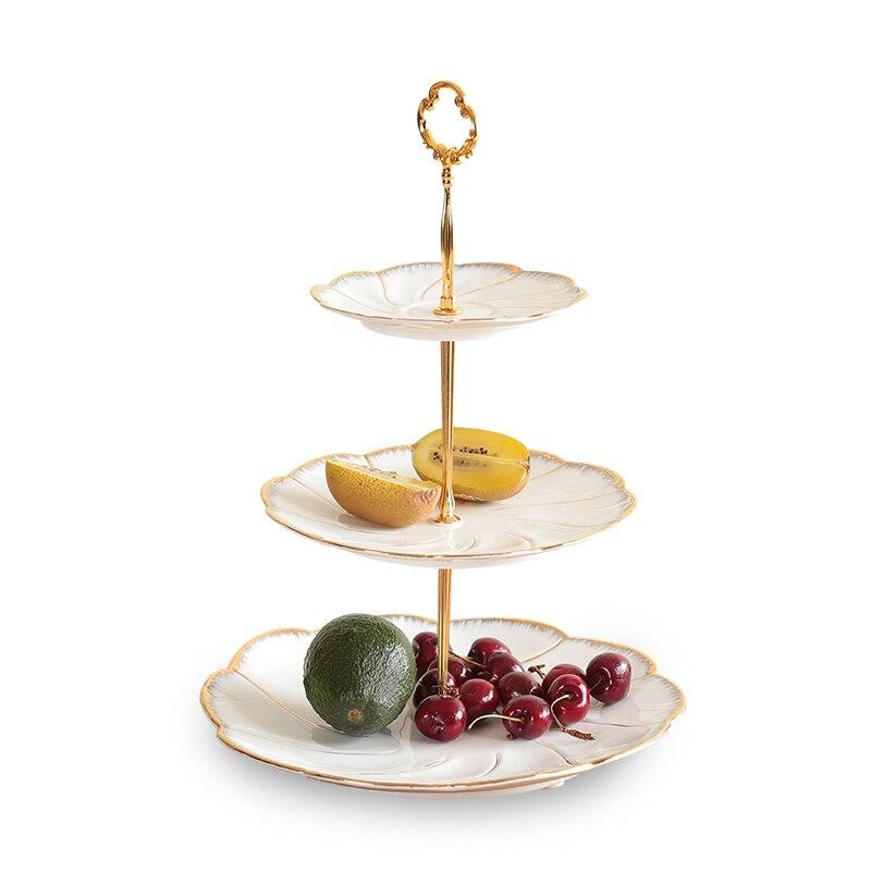 Bol à fruits en porcelaine de Style européen | Assiette à Dessert pour l'après-midi assiette à thé deux ou trois couches de paniers à fruits, plateau en céramique plateau à gâteaux