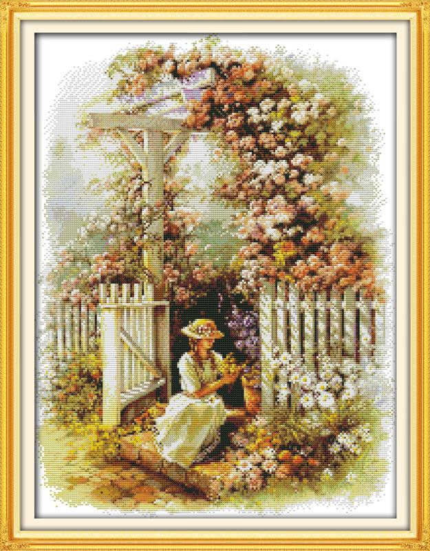 New Arrive DIY Needlework Manualidades Garden Girl DMC Cross Stitch Kits for Embroidery Knitting Needles Crafts Hobby