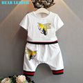 Bear Leader Boys Clothing Sets 2016 Brand Kids Clothing Sets White Cartoon Little Bee Print Design T-shirt+Pants 2pcs Cltohes